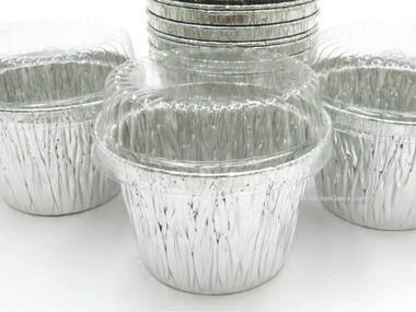 7 Oz Disposable Aluminum Foil Dessert Cup With Plastic