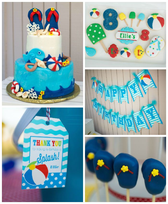 Colorful Pool Themed Birthday Party Pool Party Pool Party