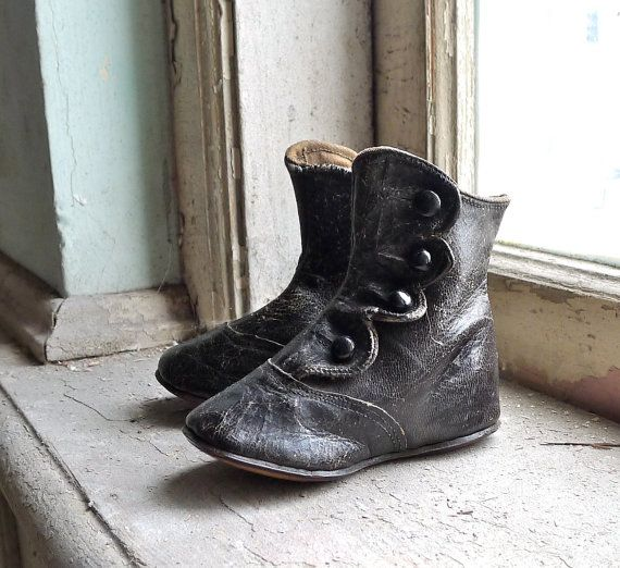 Huge fan of antique children's shoes...Victorian Button Up Children's Boots by marybethhale on Etsy