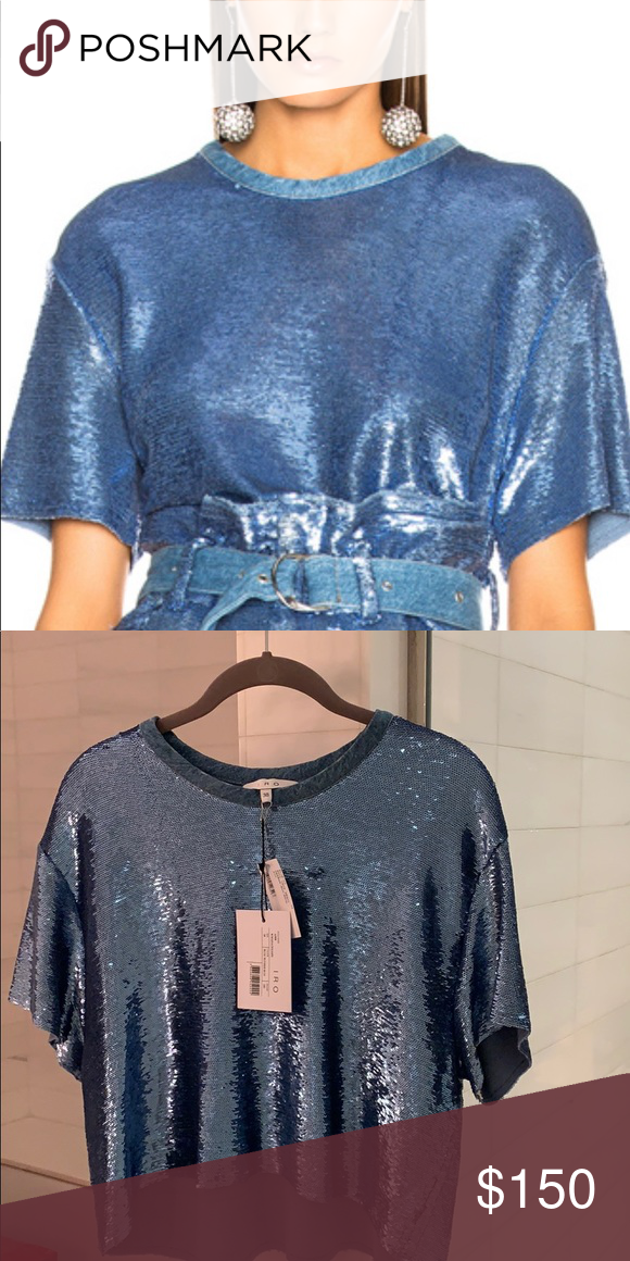 f596406f427c1 Blue sequin crop top with tags Brand new Iro brand blue Natesa crop top  with tags IRO Tops Crop Tops
