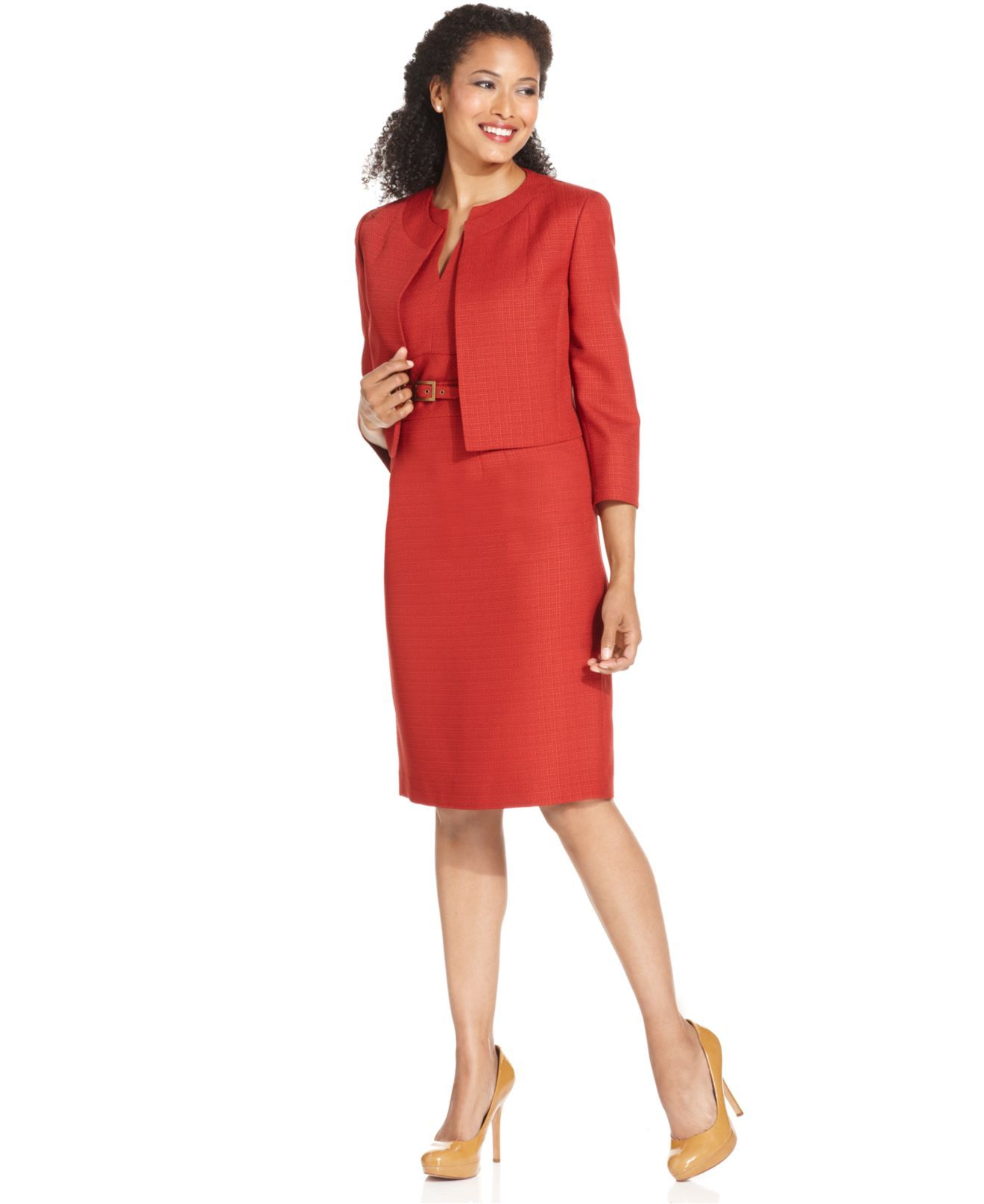 Kasper Suit, Three-Quarter-Sleeve Tweed Jacket & Sheath Dress ...
