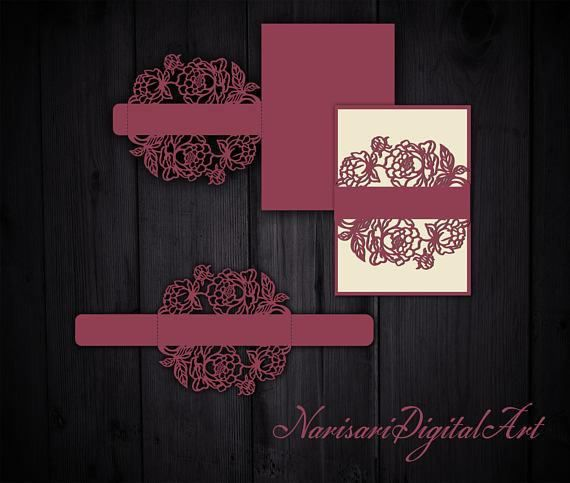 Laser cut Wedding Invitation Slidein Card Belly band Template