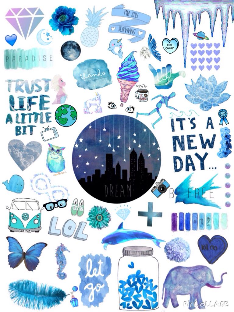 Popular Blue Aesthetic Tumblr Stickers Image - Desain ...