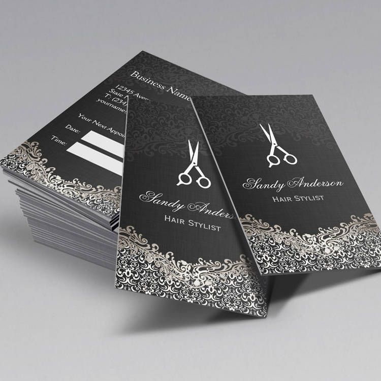 Customizable Elegant Silver Damask Hair Stylist Appointment Pack