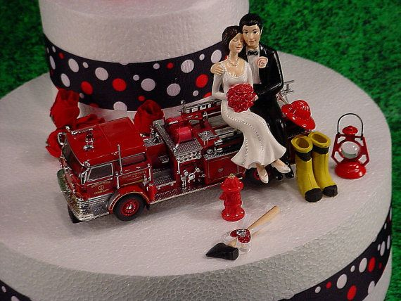 NO Fire Bride and Groom Firefighter Wedding Cake Topper Custom Red ...