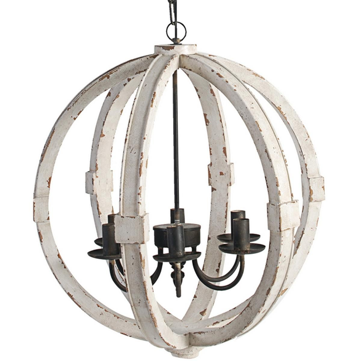 White Washed Wood Sphere Chandelier - Dining Room