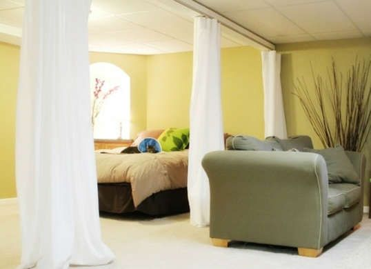 12 Finishing Touches For Your Unfinished Basement Room Divider Curtain Diy Room Divider Living Room Divider