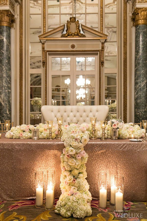 Gorgeous Sparkle Gold Line Sweetheart Table   WedLuxe U2013 Erin Aaron |  Photography By: Union