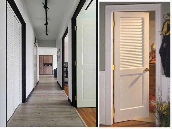 Wooden louvre doors in white
