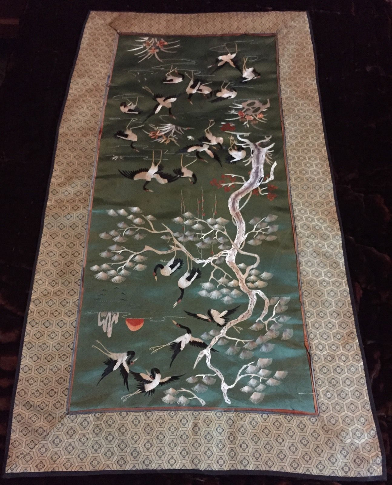 Antique chinese hand embroidery scenerybannerwall