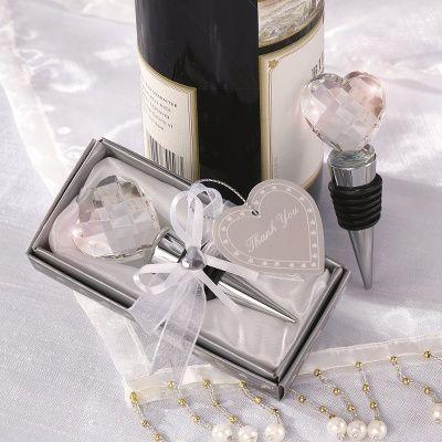 Crystal Heart Bottle Stopper Wedding Favor Favors