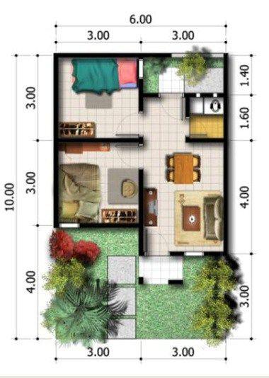 Denah Rumah Type 36x60 Denah Rumah Desain Desain Rumah