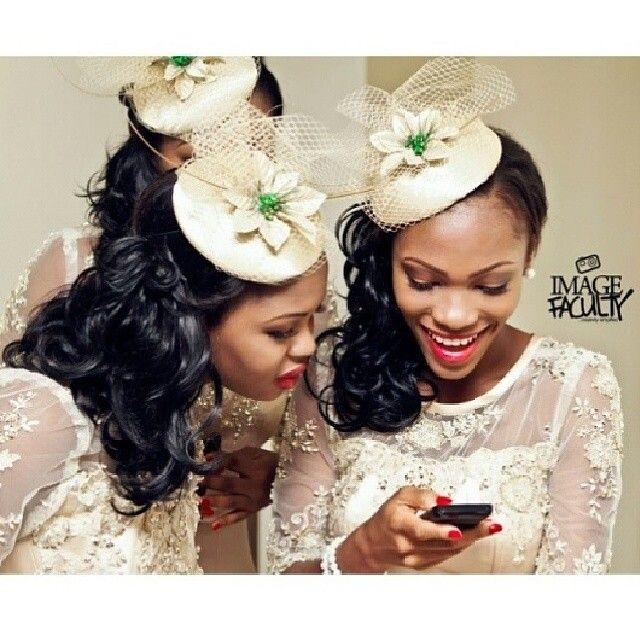 97e364d7 Nigerian wedding cream lace bridesmaids dresses with cream fascinators
