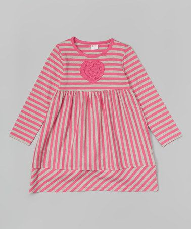 Love this Shocking Pink Stripe Heart Babydoll Dress - Toddler & Girls by Nass Girl on #zulily! #zulilyfinds