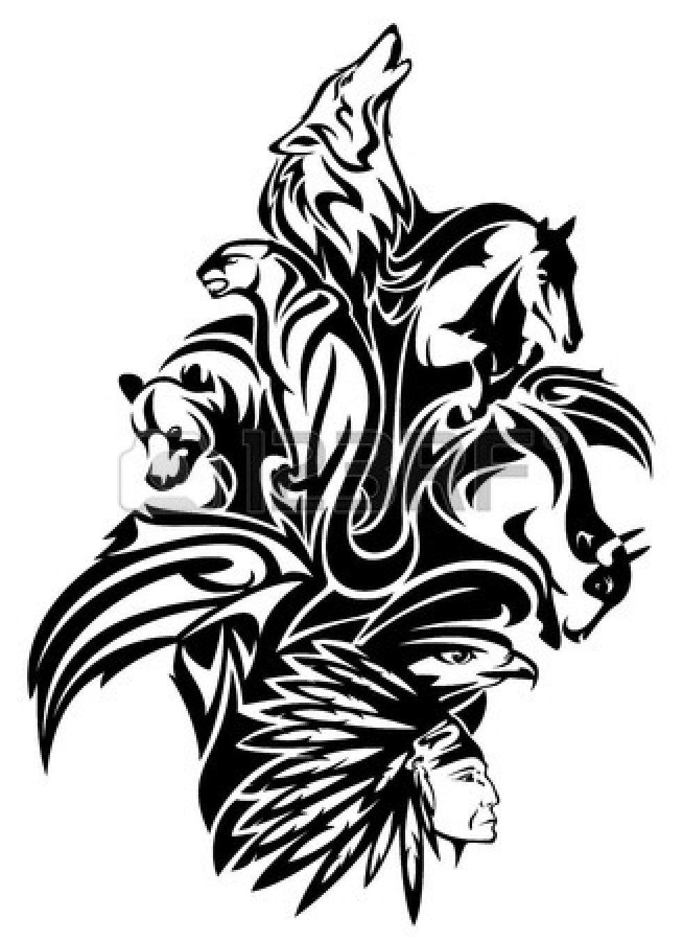 Native American Chief With Animal Spirits Design Black And Tribal Animal Tattoos Tribal Animals Animal Spirit Tattoo