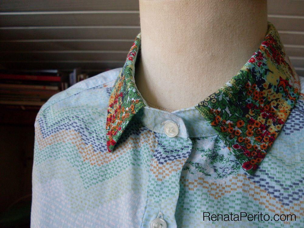 Gola que costurei usando as técnicas do livro Shirtmaking.