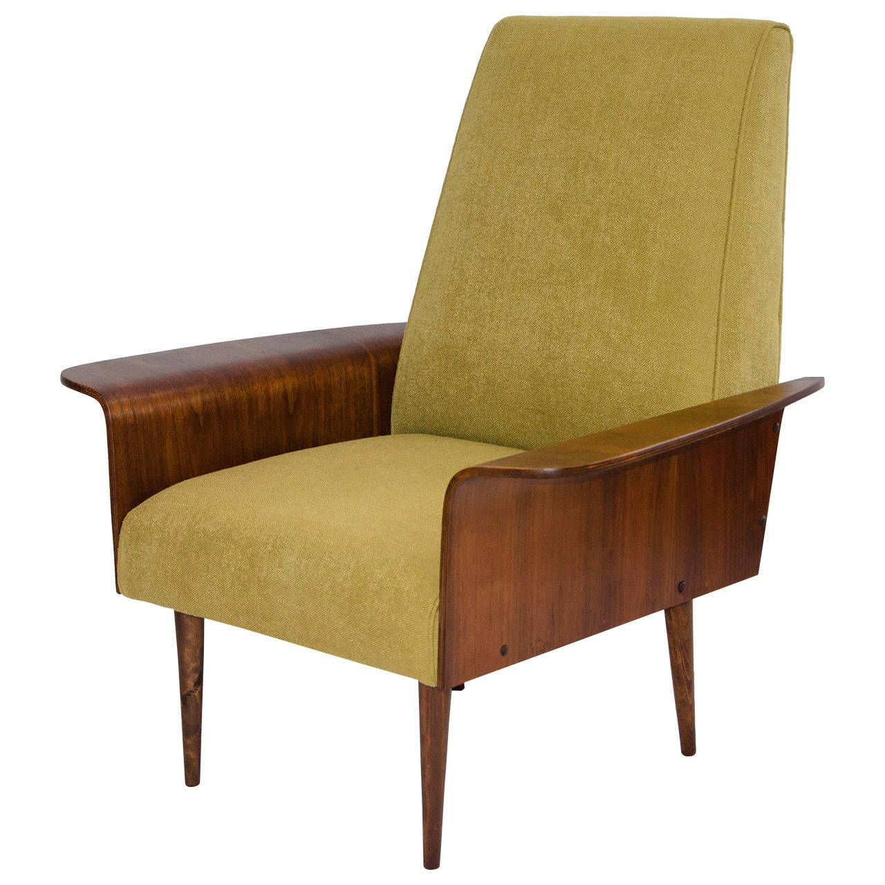 Walnut Bent Ply Lounge Chair in the Style of George Mulhauser | From a unique collection of antique and modern lounge chairs at https://www.1stdibs.com/furniture/seating/lounge-chairs/