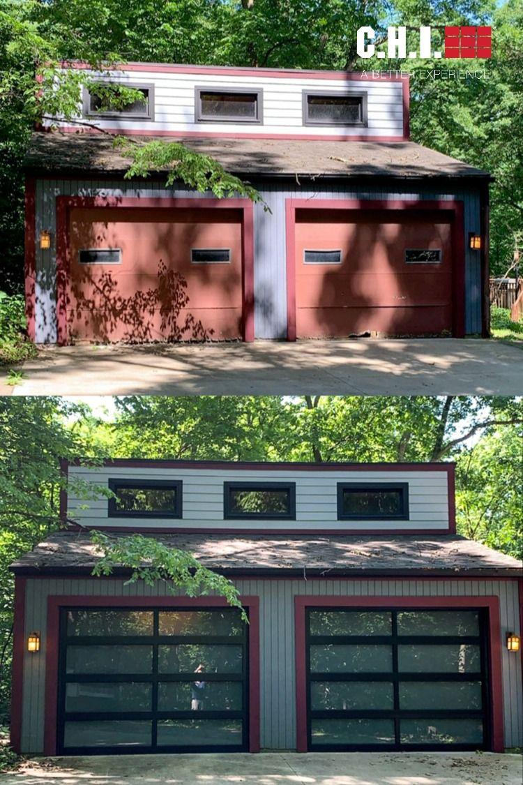 Before And After Garage Door Transformation Full View Aluminum Glass In 2020 Garage Door Installation Door Makeover Garage Transformation