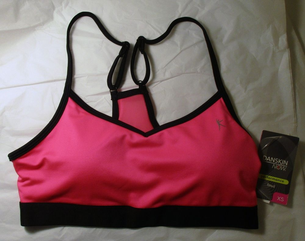 Item ID: 381930197555 Women's Size XS (0/2) DANSKIN Fitted Sports Bra Pink/Black Accent NWT #Danskin