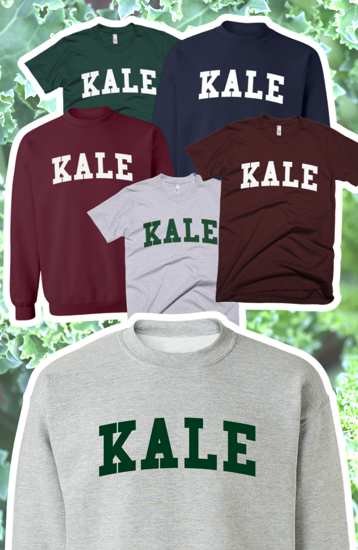 e2f1dc40 Kale TShirts and Sweaters! In Yale University style with college varsity  lettering. https: