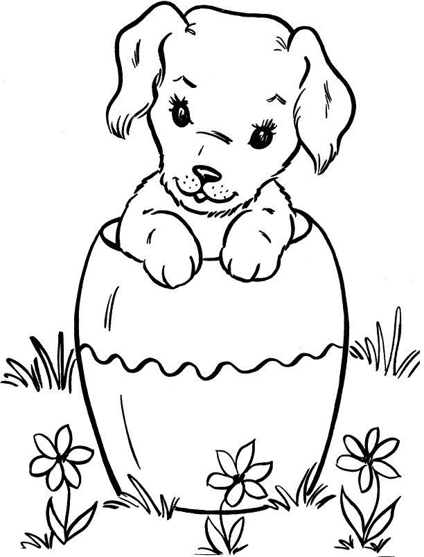 Cute Girl Dog Coloring Page Estampas Desenhos Pintura Em Tecido