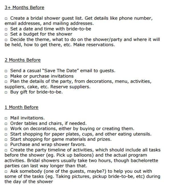 Free Biridal Shower Checklist Printable  Visit Www