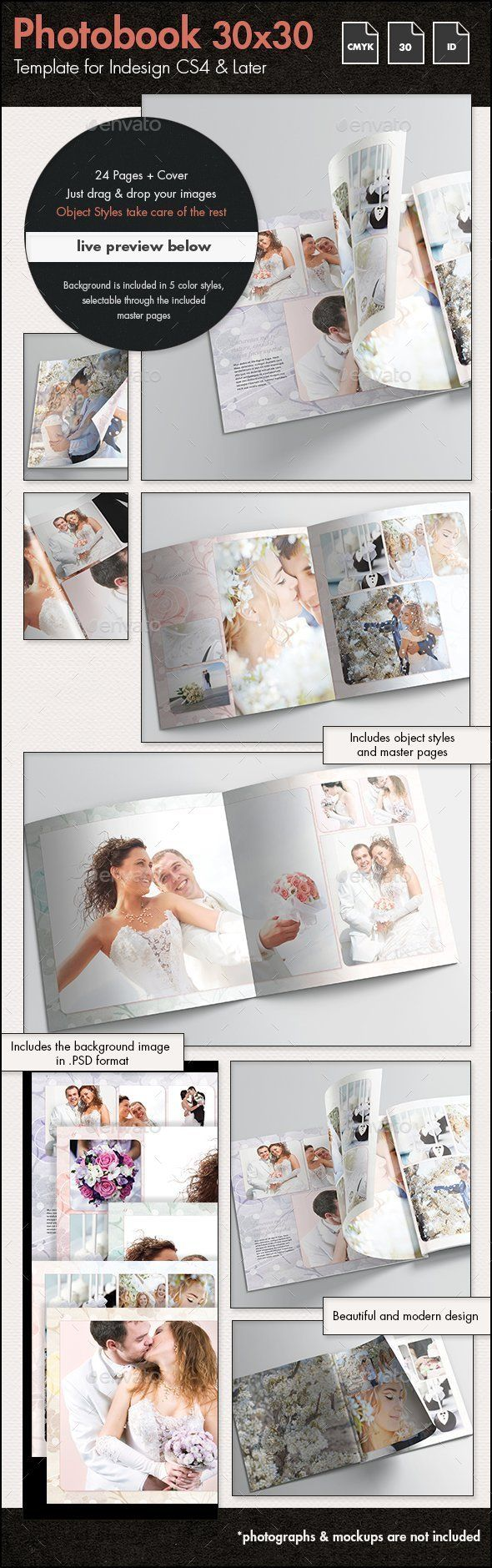 Photobook Wedding Album Template 30x30cm — Photoshop PSD #wedding ...