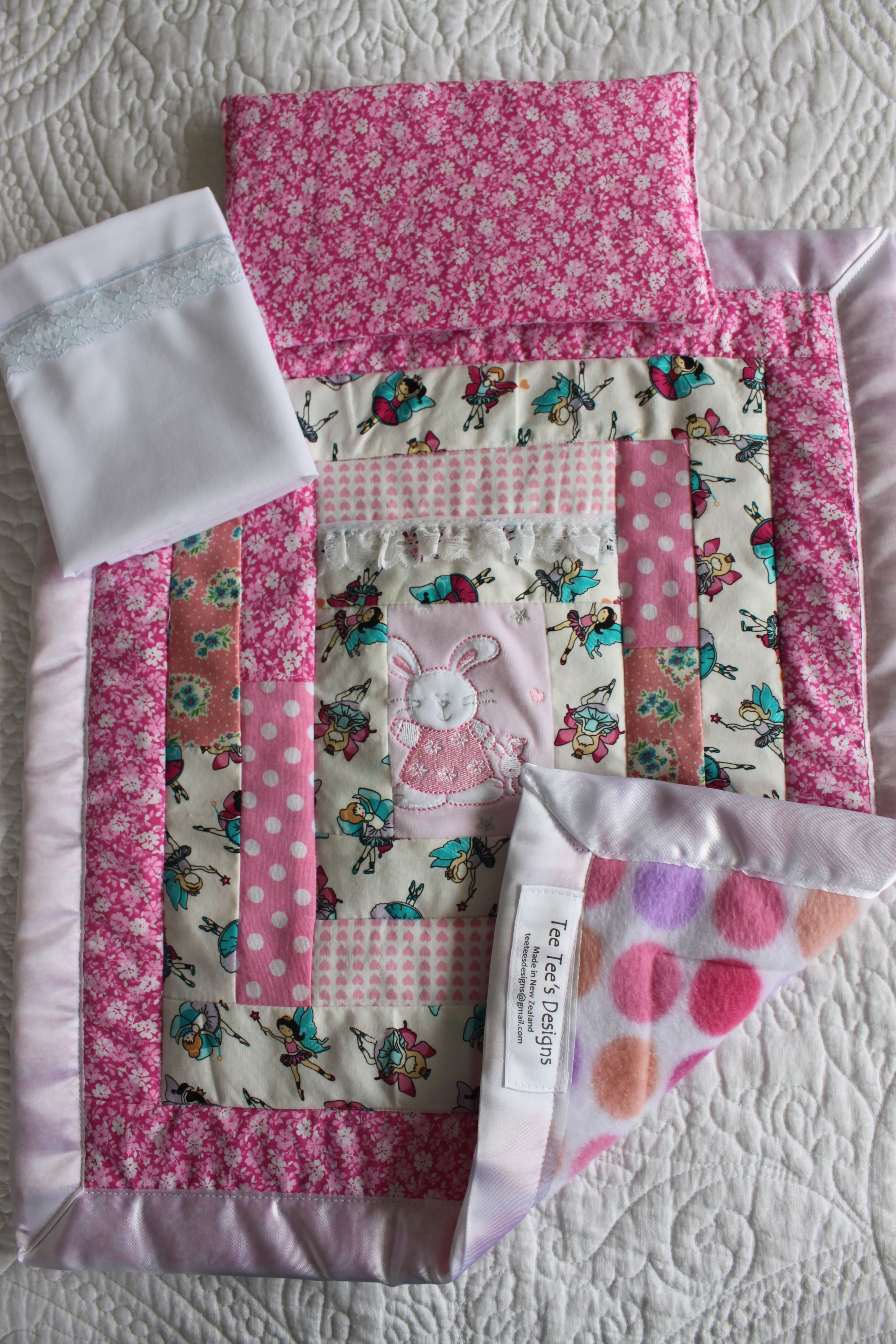 Quilt Sheet And Pillow Set For Dolls Prams Amp Cots Tee Tee