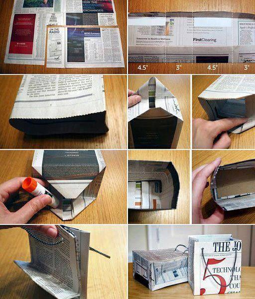 Materiales y herramientas: -Diario -Tijeras -Pegamento -Regla  Paso a paso: 1)Medimos el diario de acuerdo a las medidas que se encuentra en la imagen, o pueden utilizar la que ustedes deseen, de acuerdo al tamaño que quieran hacer la bolsa. 2)Se dobla. 3)Se hace la base, como muestra la imagen, y se pega. 4)Se lo coloca un pedazo de cartón abajo, por la parte de adentro. 5)Se le hace dos agujeros en la parte superar, de cada lado, y se le coloca un pedazo de tela en forma de tira.