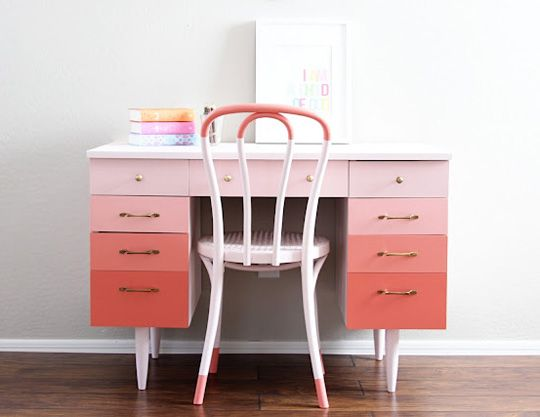 DIY Ombre desk - paint a darker shade with each drawer.