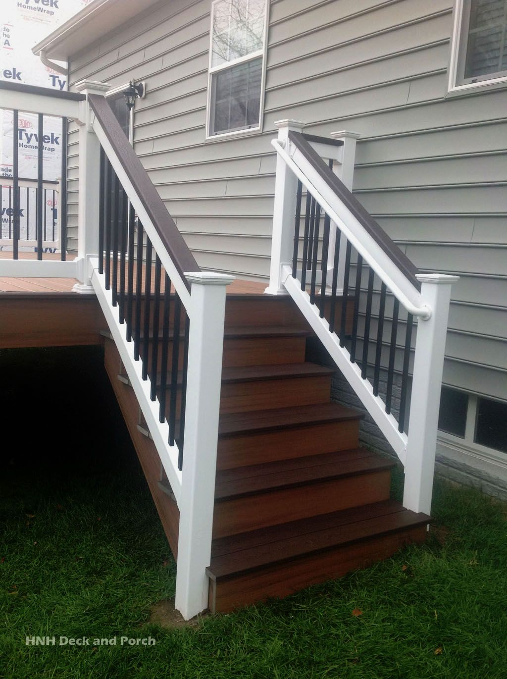 Trexcompany transcend composite deck steps using tiki for Composite deck railing