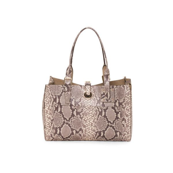 Made In Italy Python Leather Tote ($130) ❤ liked on Polyvore featuring bags, handbags, tote bags, brown tote bags, brown leather tote bag, leather handbags, leather purses and leather tote