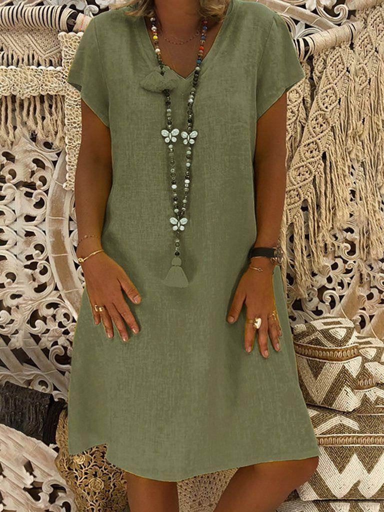 meet 72f8f 3ac1c Shop KLEIDER - Kurzarm Cotton-Blend Lässig Kleider online ...