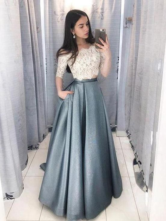 Two Piece Off The Shoulder Half Sleeve Floor Length Prom Dress Elegante Ballkleider Abendkleid Ballkleid