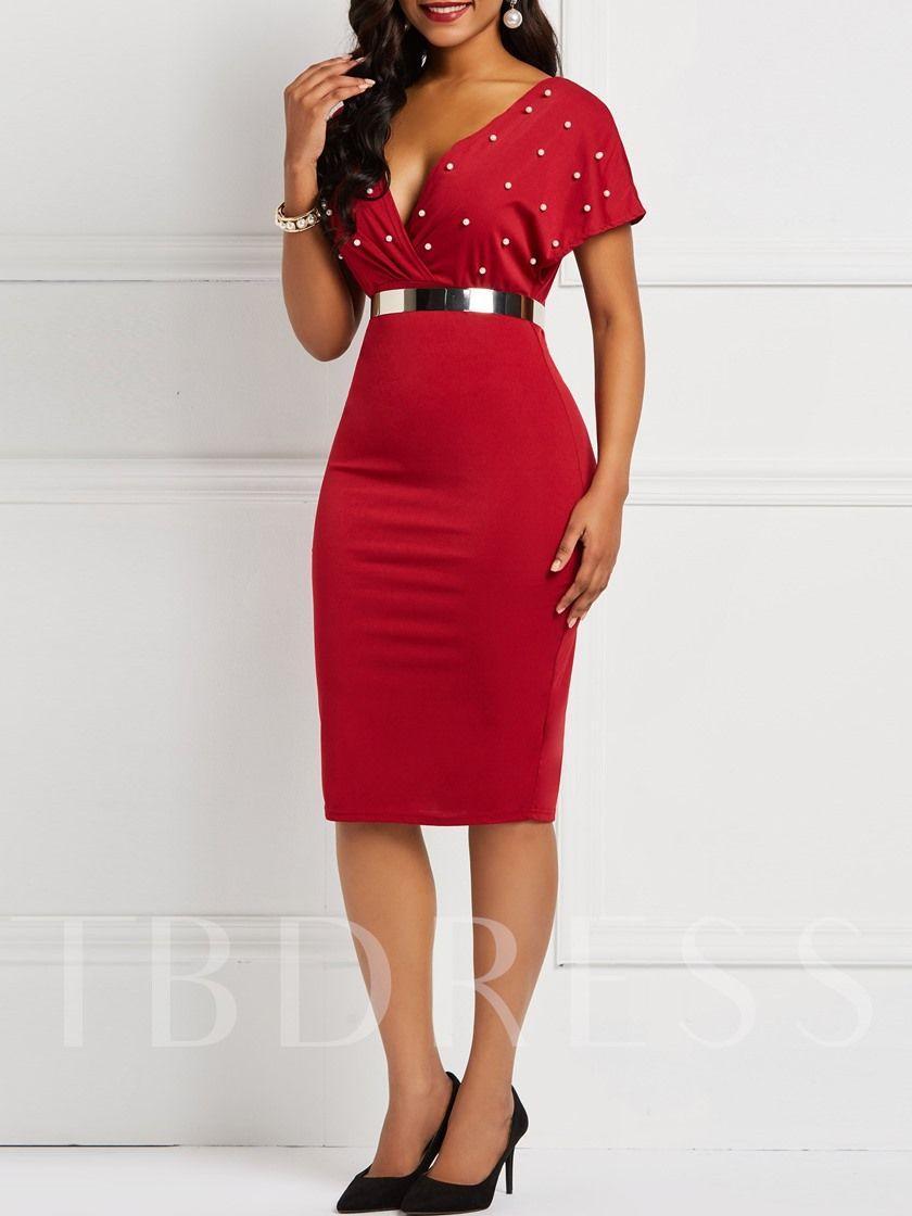 Short Sleeve Bead V Neck Women S Bodycon Dress Bodycon Dress Women Bodycon Dress Bodycon Dress Parties [ 1120 x 840 Pixel ]
