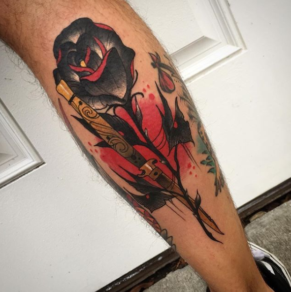 Austin Watercolor Tattoo: Black And Red Single Rose Tattoo On Calf By Austin Jones