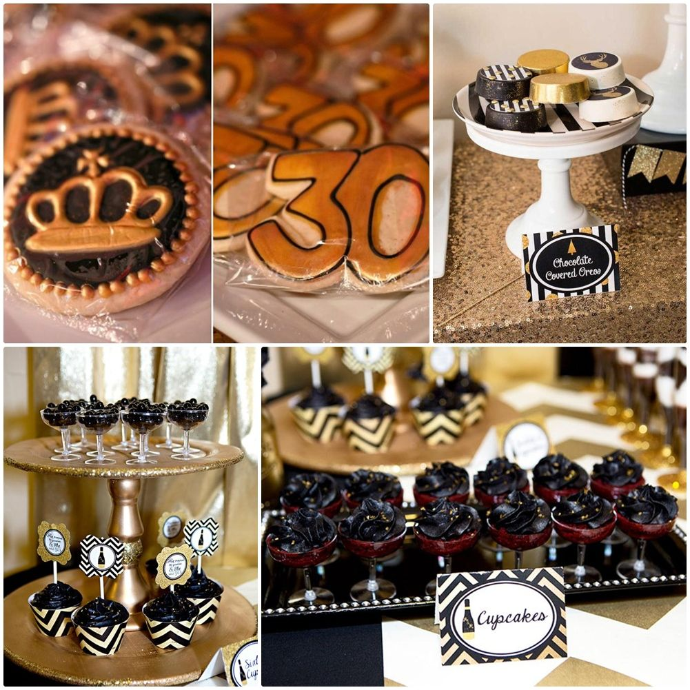 Black And Gold Party Food Ideas Gold Party Food Engagement
