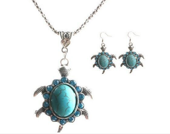Antique Silver Plated, Turquoise & Crystal Turtle Jewelry Set