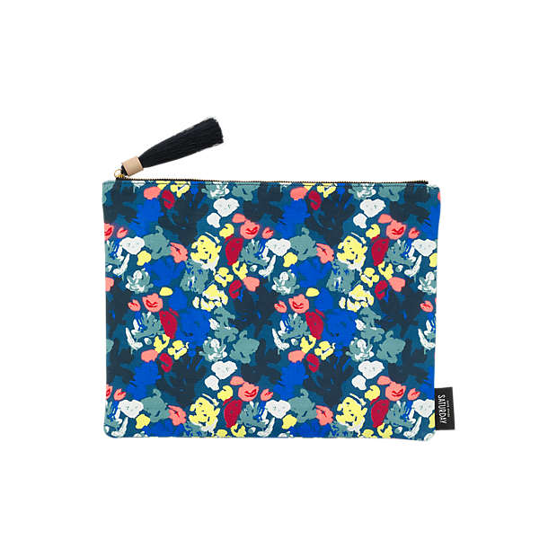Zippered Pouch with Tassel in Painted Floral - Kate Spade Saturday