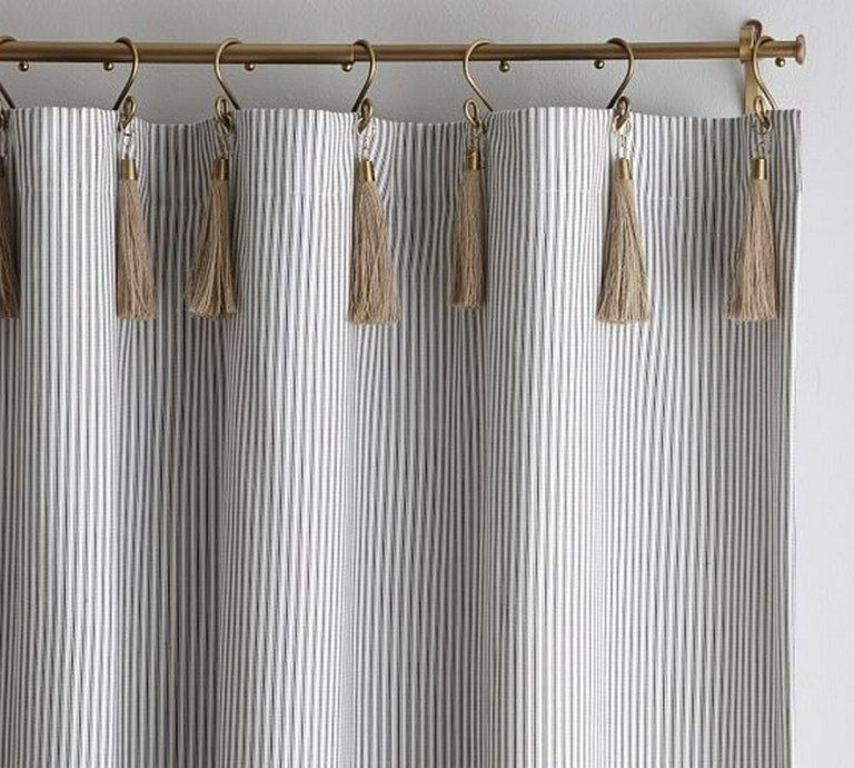 125 Gray Ticking Curtains In 2020 Ticking Stripe Curtains