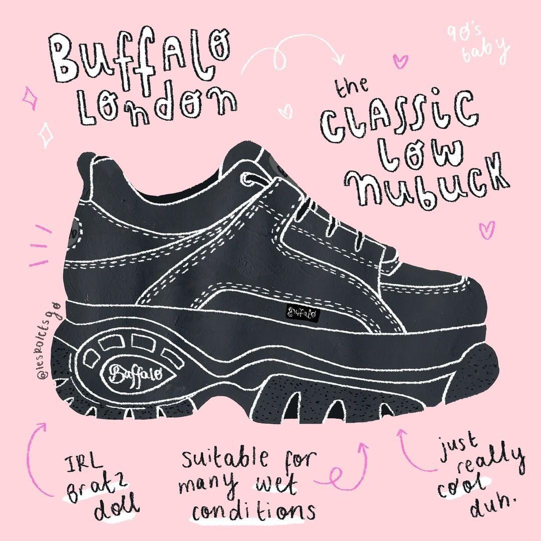 11b0343feae6 Buffalo London - Low Nubuck by  leskoletsgo  buffalo  shoes  sneakers  90s   illustration  fashion