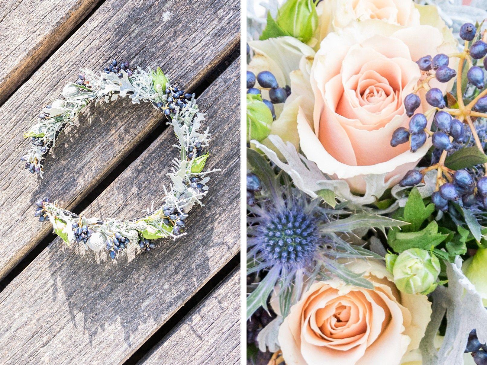 Perfekt aufeinander abgestimmt. Blumenkrone und Brautstrauß