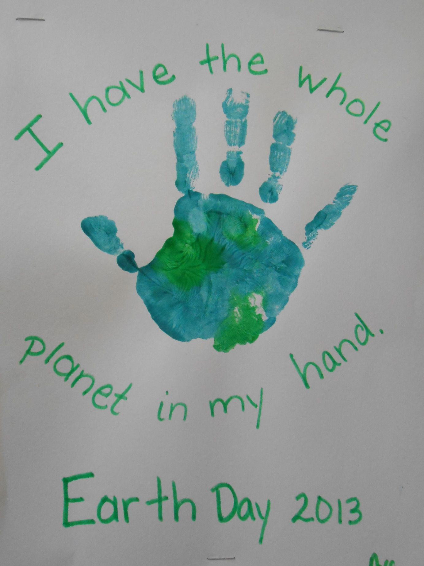 Earth Day hand painting Project. Preschool | Preschool ...