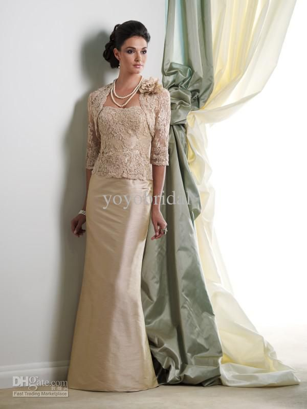056cab692d5 Wholesale 2013 New Champagne Strapless Long Lace Sleeve Jacket Mother of  the bride Dresses Bolero Formal Dress