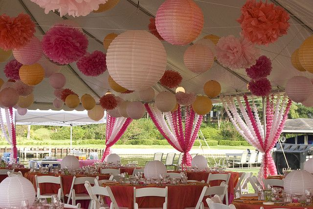 Combination of pompoms and paper lantern