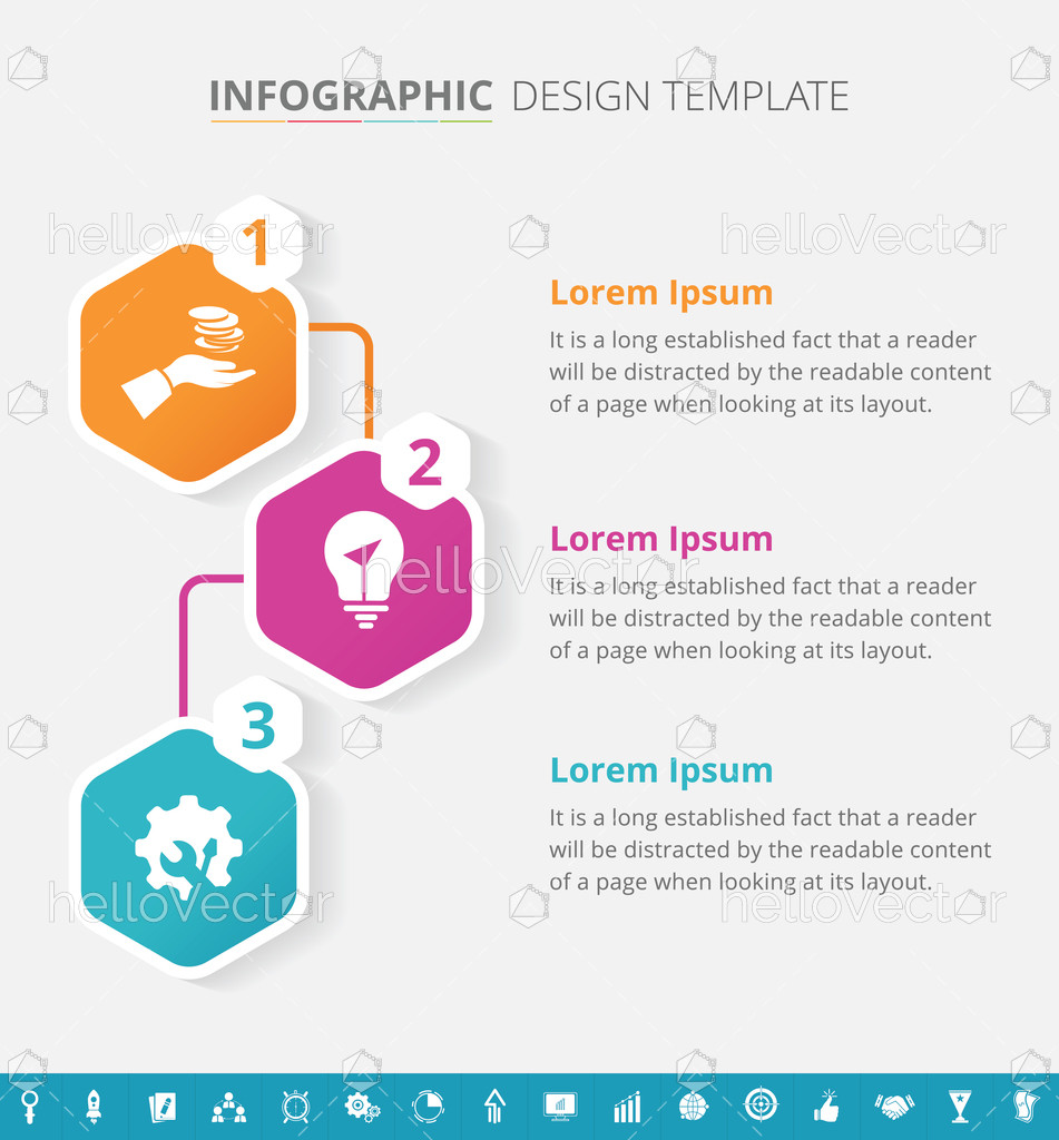 Infographic template design with 16 extra icons Vector