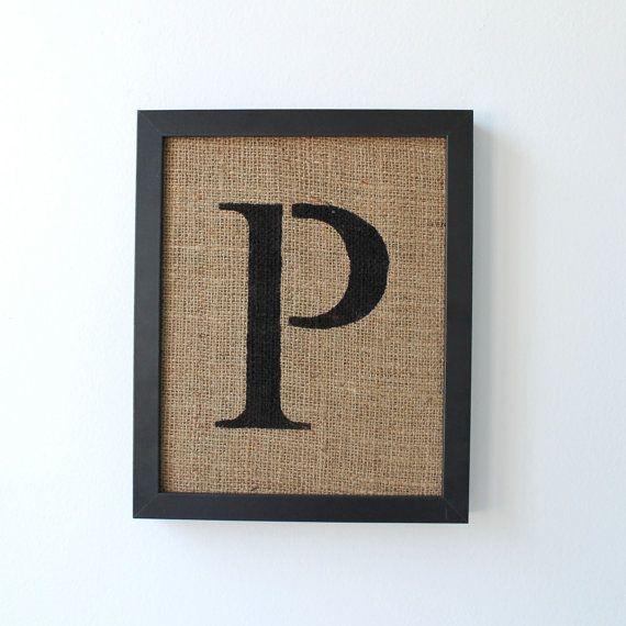 letter p alphabet wall decor on burlap stencil font alphabet decor and burlap. Black Bedroom Furniture Sets. Home Design Ideas