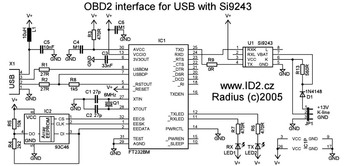 OBD2 to USB interface cable scheme and plate pinout  ODB2 to
