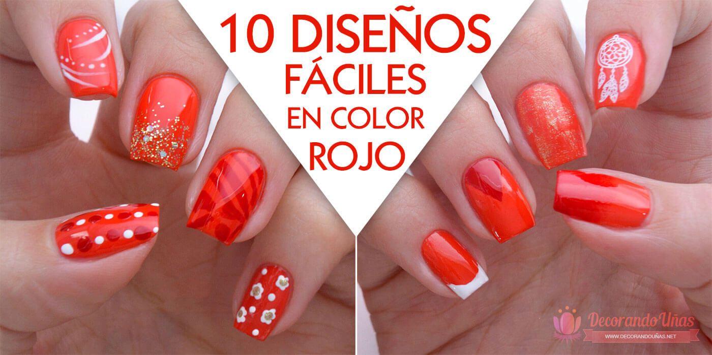 diseos de uas fciles en color rojo decoracin de uas nail art