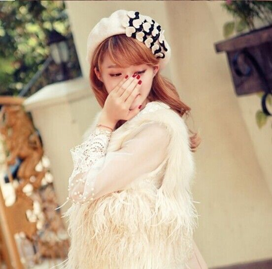 Autumn and winter free shipping NEW hat Wool hat lady's fashion cap Japan's style cap beret with heart pearl fashion accessories